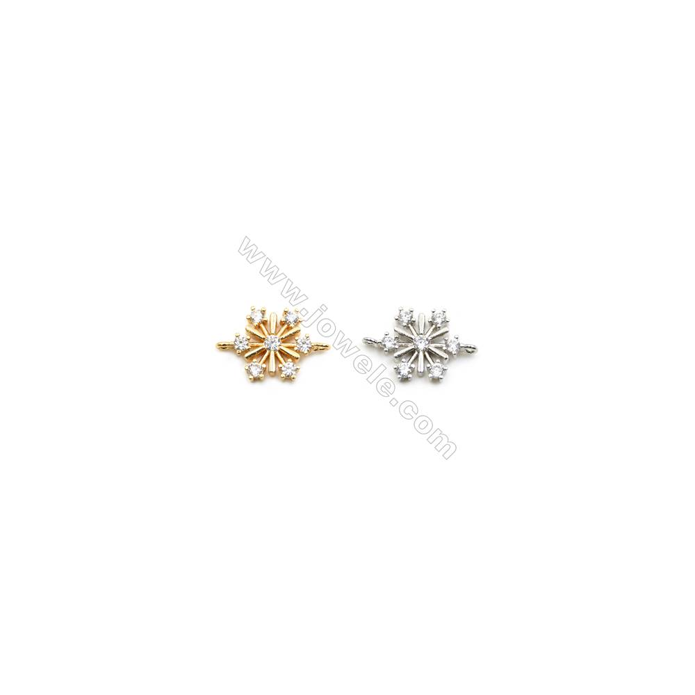 12x13mm Gold (White gold) Plated Brass Connectors, Cubic Zirconia Micropave, Snowflake, Hole 1mm, 40pcs/pack