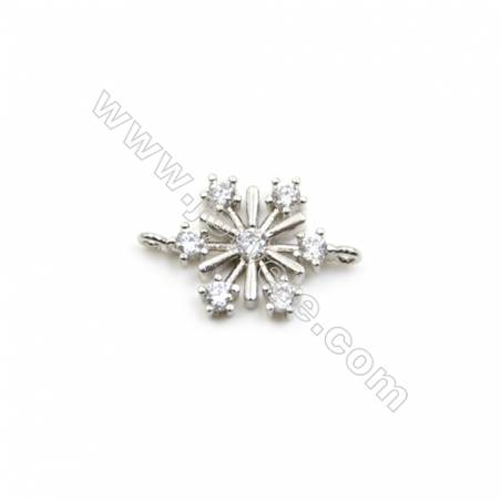 12x13mm Gold (Rhodium) Plated Brass Connectors  Cubic Zirconia Micropave  Snowflake  Hole 1mm  40pcs/pack