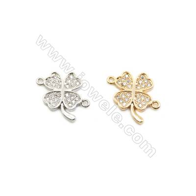 12x16mm Gold (White gold) Plated Brass Connectors, Cubic Zirconia Micropave, Clover, Hole 1mm, 30pcs/pack