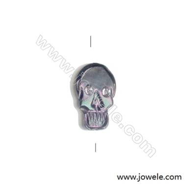 Skull-shaped grey mother-of-pearl shell strand beads, 8x12 mm, hole 0.7 mm, 15 beads/stand