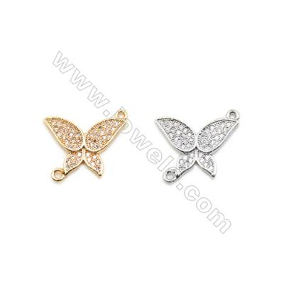 14x18mm Gold (White gold) Plated Brass Connectors, Cubic Zirconia Micropave, Butterfly, Hole 1mm, 20pcs/pack