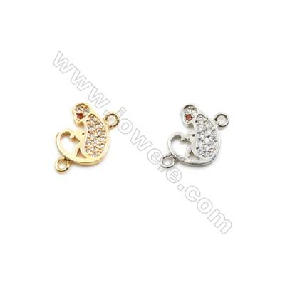 9x11mm Gold (White gold) Plated Brass Connectors, Cubic Zirconia Micropave, Monkey, Hole 1mm, 40pcs/pack