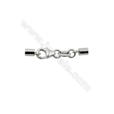 Sterling Silver Lobster Clasp with Cord Ends  Size: 5x26mm  inner Diameter 2.5mm   10pcs/pack