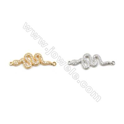 11x28mm Gold (White gold) Plated Brass Connectors, Cubic Zirconia Micropave, Snake, Hole 1mm, 20pcs/pack