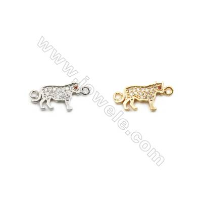 8x12mm Gold (White gold) Plated Brass Connectors, Cubic Zirconia Micropave, Tiger, Hole 1mm, 40pcs/pack