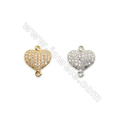 8x11mm Gold (White gold) Plated Brass Connectors, Cubic Zirconia Micropave, Heart, Hole 1mm, 30pcs/pack