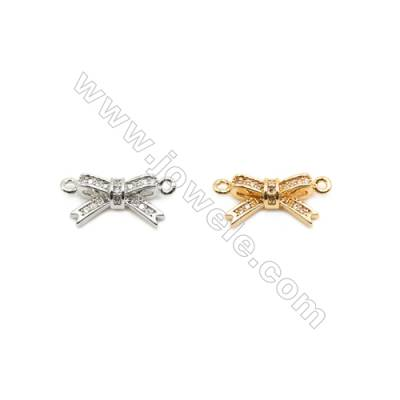 8x14mm Gold (White gold) Plated Brass Connectors, Cubic Zirconia Micropave, Knot, Hole 1mm, 40pcs/pack