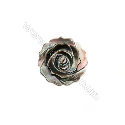 Gray Mother-of-pearl Shell, Rose, 25mm, Hole 1mm, 10pcs/pack