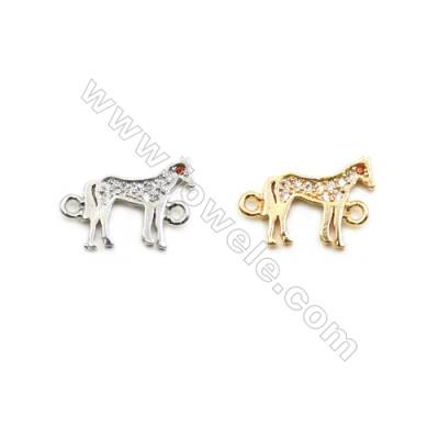 9x12mm Gold (White gold) Plated Brass Connectors, Cubic Zirconia Micropave, Horse, Hole 1mm, 40pcs/pack