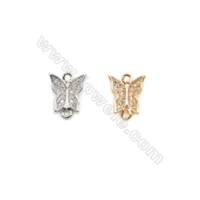 10x10mm Gold (White gold) Plated Brass Connectors, Cubic Zirconia Micropave, Butterfly, Hole 1mm, 40pcs/pack
