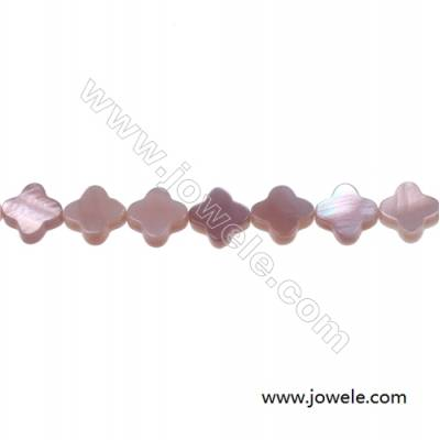 Pink mother-of-pearl four-leaf flowers beaded strand, Diameter 8mm, Hole 0.7mm, 51 beads/strand