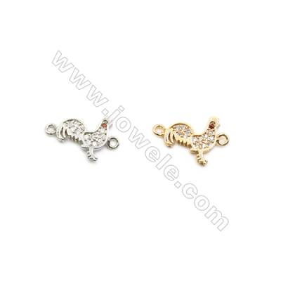 10x11mm Gold (White gold) Plated Brass Connectors, Cubic Zirconia Micropave, Chicken, Hole 1mm, 40pcs/pack