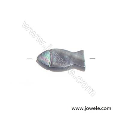 Gray  small fish-shaped mother-of-pearl strand beads, 6x12mm, hole 0.7mm, 15 beads/strand