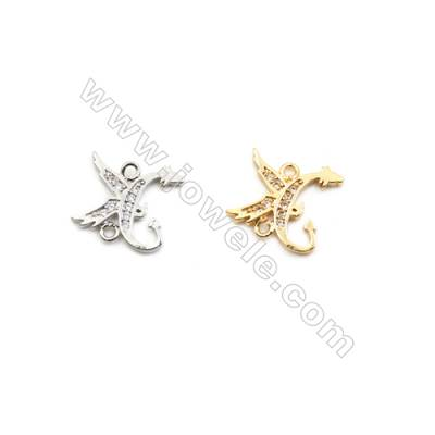 12x13mm Gold (White gold) Plated Brass Connectors, Cubic Zirconia Micropave, Dragon, Hole 1mm, 50pcs/pack