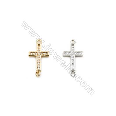 10x14mm Gold (White gold) Plated Brass Connectors, Cubic Zirconia Micropave, Cross, Hole 1mm, 40pcs/pack
