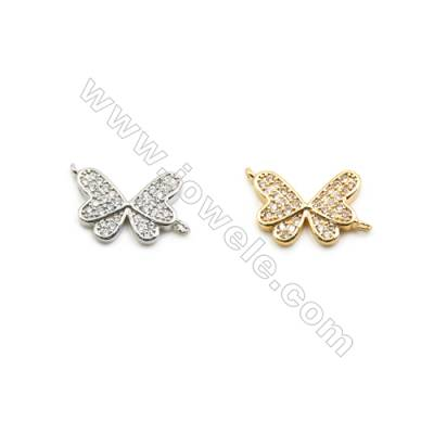 10x13mm Gold (White gold) Plated Brass Connectors, Cubic Zirconia Micropave, Butterfly, Hole 1mm, 30pcs/pack