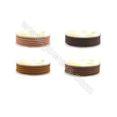 Brown Series Braided Acrylic Thread  Elastic  Diameter 3mm  2 meter/roll