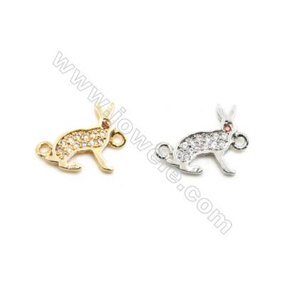 10x14mm Gold (White gold) Plated Brass Connectors, Cubic Zirconia Micropave, Rabbit, Hole 1mm, 40pcs/pack