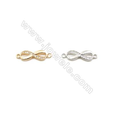 5x14mm Gold (White gold) Plated Brass Connectors, Cubic Zirconia Micropave, Figure 8, Hole 1mm, 50pcs/pack
