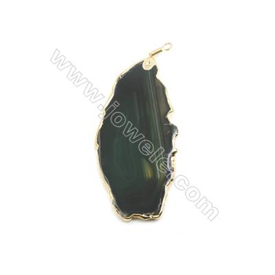 Pendant, Green Agate (dyed /heated) with Gold-plated Brass, about 49x102mm, Hand-cut Slice. Sold individually.