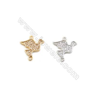 14x18mm Gold (White gold) Plated Brass Connectors, Cubic Zirconia Micropave, Dove, Hole 1mm, 20pcs/pack
