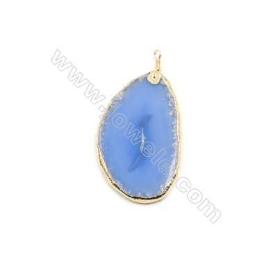 Pendant, Blue Agate (dyed /heated) with Gold-plated Brass, about 55x81mm, Hand-cut Slice. Sold individually.