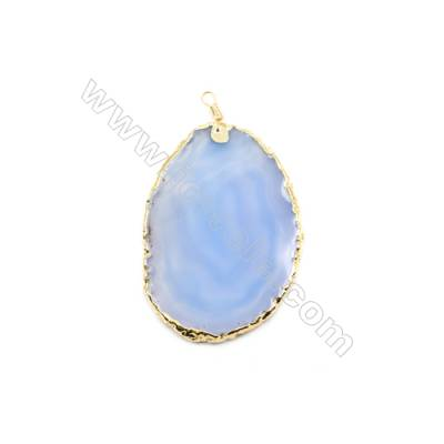 Pendant, Blue Agate (dyed /heated) with Gold-plated Brass, about 60x87mm, Hand-cut Slice. Sold individually.