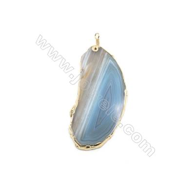 Pendant, Blue Agate (dyed /heated) with Gold-plated Brass, about 46x101mm, Hand-cut Slice. Sold individually.