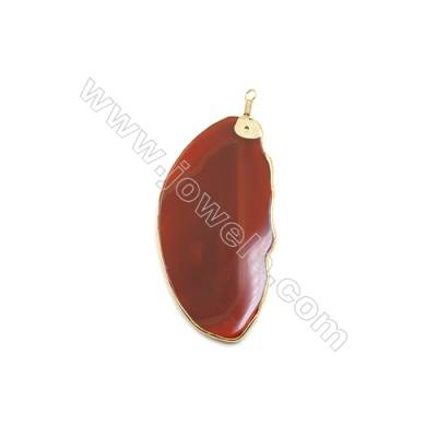 Pendant, Red Agate (dyed /heated) with Gold-plated Brass, about 45x96mm, Hand-cut Slice. Sold individually.