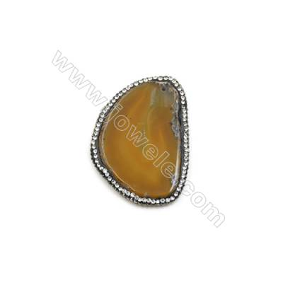Pendant, Yellow Agate (dyed /heated) with Black-plated Brass, about 45x62mm, Hole 1.5mm, Hand-cut Slice