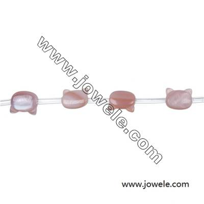 Pink shell mother-of-pearl cat-head strand beads, 9x10mm, hole 0.7mm, 20 beads/strand