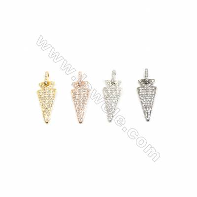 12x28mm Brass Arrowhead Pendant  Plated  Cubic Zirconia Micropave  10pcs/pack