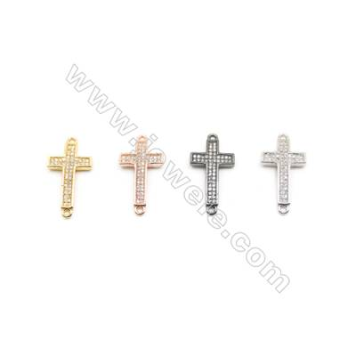 13x21mm Brass Cross Connector, Plated, Cubic Zirconia Micropave, Hole 1.5mm, 20pcs/pack