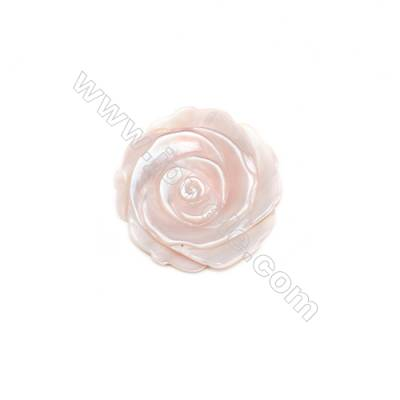 Pink mother-of-pearl rose shell, 25mm, hole 1mm, 10pcs/pack