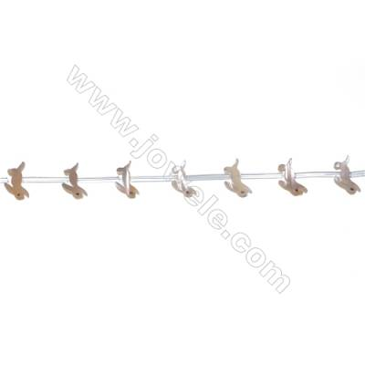 Yellow mother-of-pearl rabbit-shaped beads strand, 8x15mm, hole diameter 0.7mm, 20 beads/strand