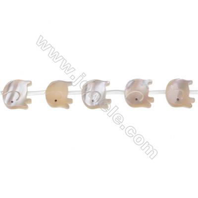 Yellow elephant mother-of-pearl beads strands 12x14mm hole diameter 0.7mm  15 beads/strand