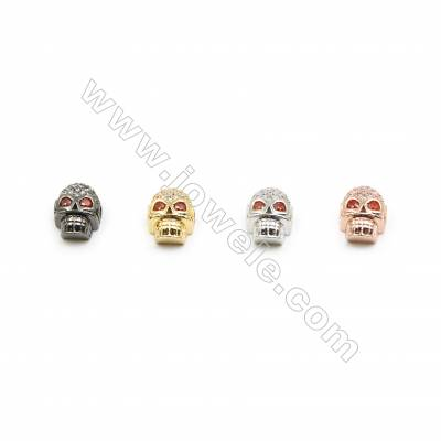 9x11mm Brass Skull Beads  Plated  Cubic Zirconia Micropave  Hole 2mm  20pcs/pack