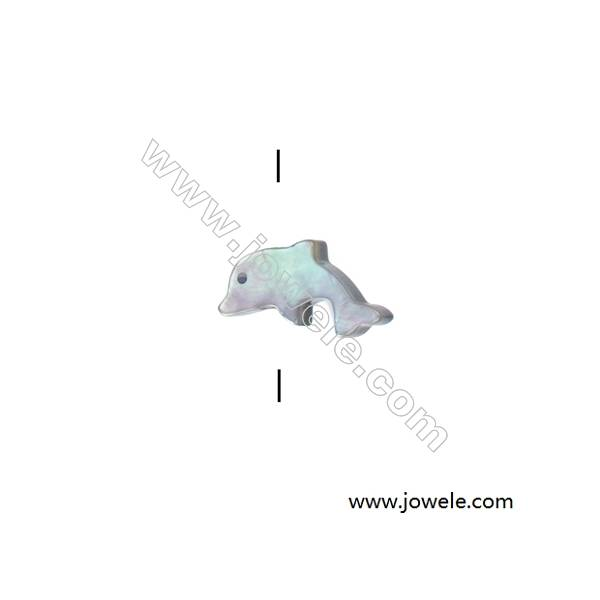 Grey dolphin shaped mother-of-pearl beads, 7x15mm, hole 0.7mm, 20 beads/strand