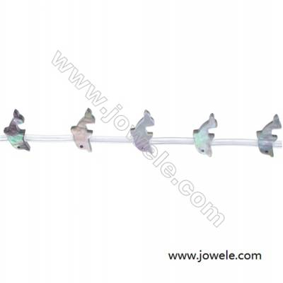 Grey dolphin shaped mother-of-pearl beads 7x15mm  hole diameter 0.7mm  20 beads/strand