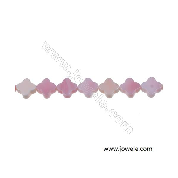 Pink shell four-leaf flower mother-of-pearl strand beads, Diameter 12mm, Hole 0.7mm, 34 beads/strand