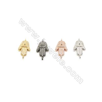 12x16mm Brass Palm Connector, Plated, Cubic Zirconia Micropave, Hole 1.5mm, 20pcs/pack
