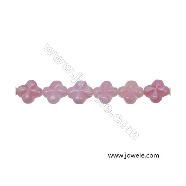 Pink flower-shaped mother-of-pearl beaded strand, Size 8mm, Hole 0.7mm, 50 beads/strand
