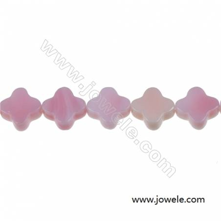 Pink shell four-leaf flower mother-of-pearl strand beads, Size 6mm, Hole 0.7mm, 70 beads/strand