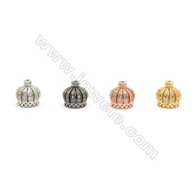 10x10mm Brass Crown Beads  Plated  Cubic Zirconia Micropave  Hole 1mm  20pcs/pack