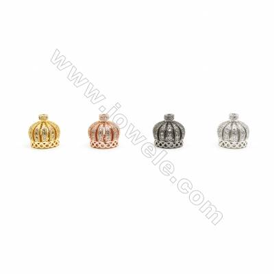 13x13mm Brass Crown Beads  Plated  Cubic Zirconia Micropave  Hole 1.5mm  20pcs/pack
