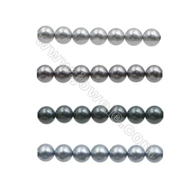 10mm Gray Series Shell Pearl Beads  Hole 1mm  about 40 beads/strand 15~16""