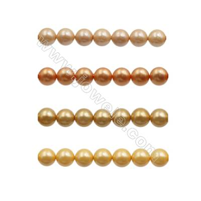 10mm Orange Series Shell Pearl Beads  Hole 1mm  about 40 beads/strand 15~16""