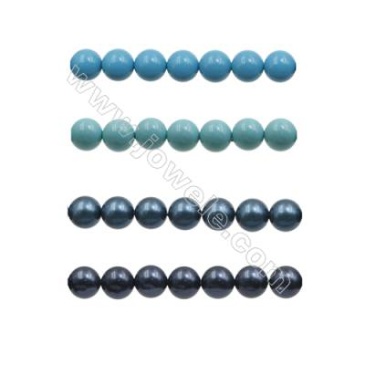 10mm Blue Series Shell Pearl Beads  Hole 1mm  about 40 beads/strand 15~16""