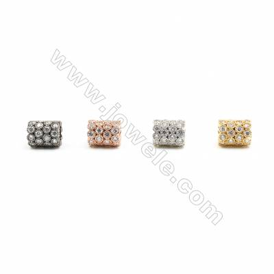 8x9mm Brass Column Beads  Plated  Cubic Zirconia Micropave  Hole 4.5mm  20pcs/pack