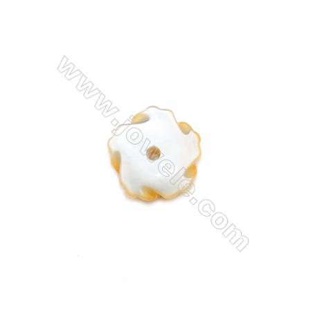 Wholesale yellow mother-of-pearl shell8mm hole 1mm  40pcs/pack